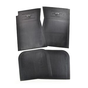 Mustang Floor Mats Pony 4 Piece Set Rubber 64 1965 66 67 68 69 70 71 72 73 Black