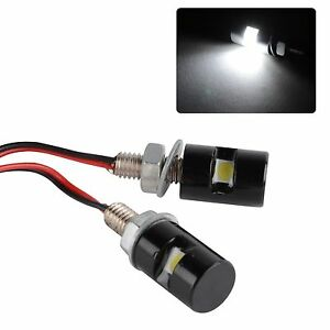 2x White Led Smd Motorcycle car License Plate Stud Screw Bolt Light Lamp Bulb Us