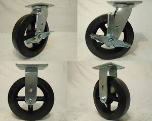 8 X 2 Swivel Casters Rubber Wheel W Brake 2 Rigid 2 600lb Each Tool Box