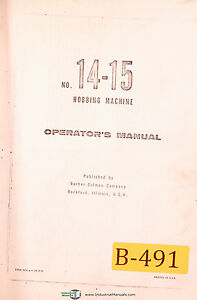 Barber Colman No 14 15 Hobbing Machine Operations Manual Year 1959