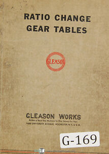 Gleason Nc 75 Ratio Change Gear Tables Manual 1937