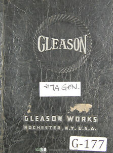 Gleason 7a Spiral Bevel Hypid Generator Operators Instruction Manual 1941