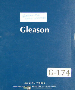 Gleason 2 G2h Hypoid Generator 27298 Up Operators Instructions Manual