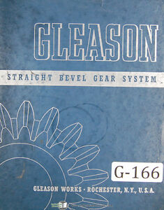 Gleason Straight Bevel Gear System Tooth Porportions Manual 1942