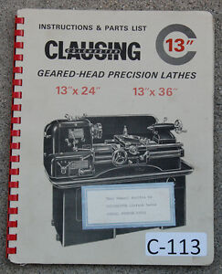 Clausing Colchester C 13 Lathe Serial 25303 40723 Operation Parts Manual 1965