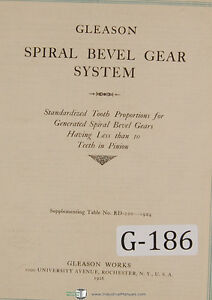 Gleason Spiral Bevel Gear System Tooth Proportions 10 Per Pinion Manual 1926