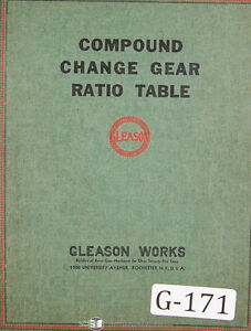 Gleason Compound Change Gear Ration Tables 3000000 To 3 333333 Manual 1937