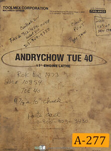 Toolmex Andrychow Tue 40 17 Polamco Lathe Technical Servicing Manual 1978