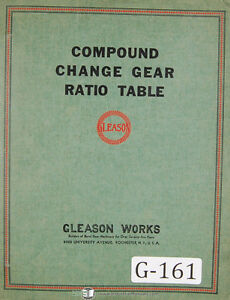 Gleason Generator Machines comound And Roll Change Gear Ratio Tables Manual
