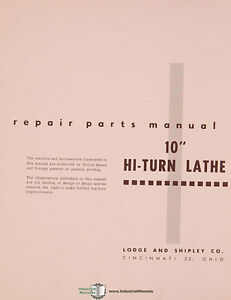 Lodge Shipley 10 Hi turn Lathe Parts Manual