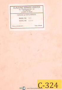 Clausing Colchester 15 1660 1793 Engine Lathe Instructions Parts Manual 1965