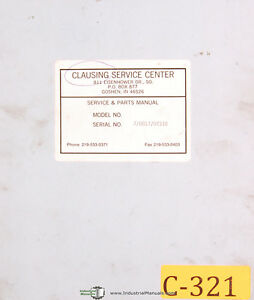 Clausing 17 8000 Engine Lathes Instructions Electric Parts Manual 1967