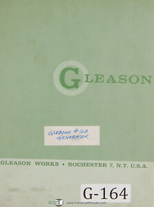 Gleason 12 B Straight Bevel Gear Generator Replacement Parts Manual 1964