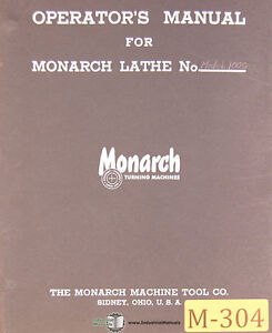 Monarch 1000 13 Ee Precision Lathe Install Parts Lubrication Manual 1954