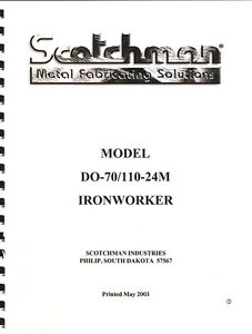 Scotchman D070 110 24m Ironworker Operations Manual