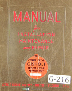 Gisholt 3 d Simplimatic Lathe Detroit Tracer Controls Operation Manual 1963