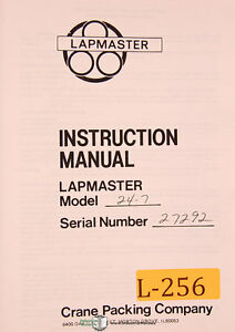 Lapmaster 24 7 Lapping Machine Instructions Manual