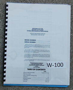 Wysong 20 Ton Hydra mechanical Press Brake Operations And Parts Manual