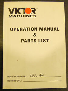 Victor 1600 2000 Series Lathe Operations And Parts List Manual