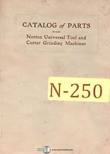 Norton Tool And Cutter Grinder Catalog Of Parts Manual Year 1927