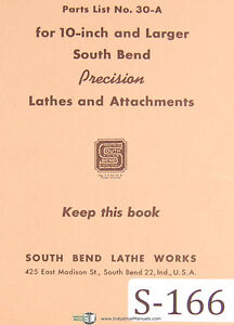 Southbend 30 a Lathes And Attachments Parts List Manual 1946