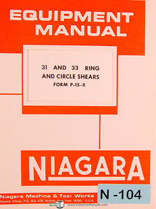 Niagara 31 33 Ring Circle Shears Instructions And Parts List Manual 1989