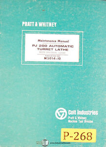 Pratt Whitney Pj200 Lathe Maintenance Manual Year 1967
