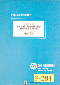 Pratt Whitney Pj200 Automatic Turret Lathe Instructions Mnaual Year 1966