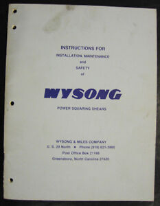 Wysong Mechanical Shear Instructions For Install maintenance Manual