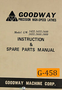 Goodway Gw 1400 1600 Series Lathes Instructions And Spare Parts Manual