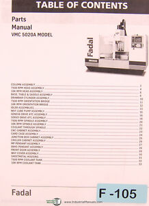 Fadal Giddings Lewis Vmc 5020a Machining Center Parts List Manual Year 2001