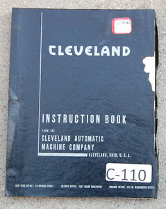 Cleveland Model A B Single Spindle Automatic Operations And Parts Manual