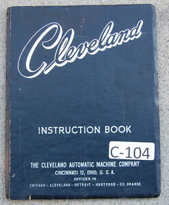 Cleveland Model A B Single Spindle Automatic Service And Opeartions Manual