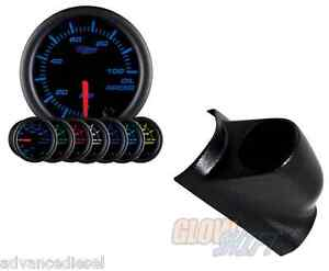 Glowshift Black 7 Color Oil Pressure Psi Gauge black Pod For 98 02 Dodge Cummins
