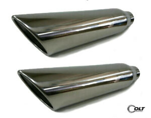 2 Universal Dual Truck T304 Stainless Steel Exhaust Tips 2 25 Inlet 18