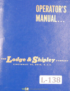 Lodge Shipley 2013 2013 17 Lathe Operators Instruction Wiring Parts Manual
