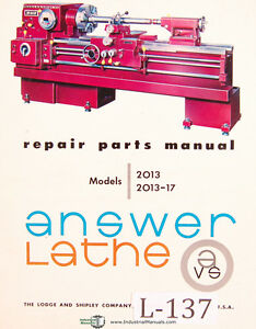 Lodge Shipley 2013 2013 17 Lathe Parts Lists Attachments Assembly Manual