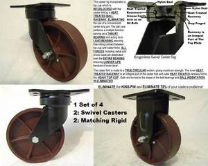 8 X 2 Kingpinless Drop Forged 2 Sw Casters ductile Steel Wh 2 Rigid 2000lb Ea