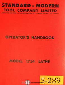 Standard Modern Tool Model 1754 D1 6 15 17 Lathes Operations Parts Manual