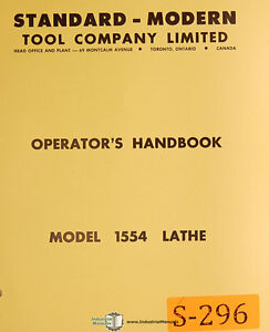 Standard Modern Tool 1554 Lathe Operations And Parts Manual