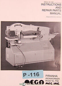 Piranha P90 Ironworker Instructions And Spare Parts Manual