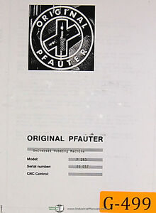 Pfauter Gleason P253 Gear Hobbing Operations Manual