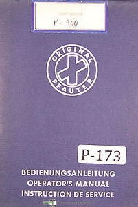 Pfauter Hermann P500 P900 Hobbing Machine Operations And Service Manual 1966