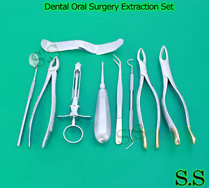 Set Of 10 Pcs Oral Dental Extraction Kit extracting Forceps 150 151 163 Ex 345