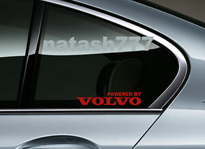 Powered By Volvo Sport Racing Decal Sticker Window Emblem Logo Red Pair