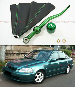 For 90 01 Acura Integra Green Dual Bend Short Shifter Shift Knob Leather Boot