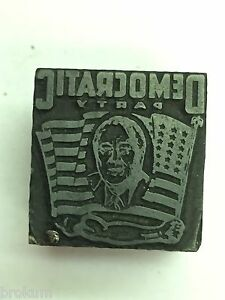Democratic Party Political Printer s Letterpress Type Block Man s Head In Flag