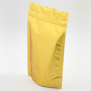 100 Gold Mylar Foil Storage Zip Lock Stand up Bags Pouches 22x30cm 8 6x11 8