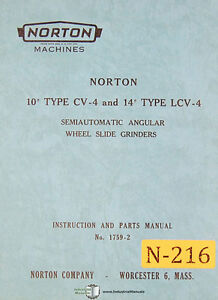 Norton 10 Type Cv 4 And 14 Lcv 4 Grinder Instructions 1759 Parts Manual