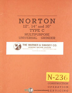 Norton 12 14 16 Type C Grinder Construction Operation And Service Manual
